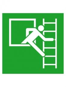 Panneau de sauvetage, en alu échelle de secours à droite, 200x200 (0150.0021)
