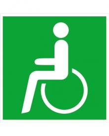 Panneau de sauvetage, en alu, chemin de fuite à gauche - sortie de secours pour chaise roulante, 200x200 (0150.A2070)